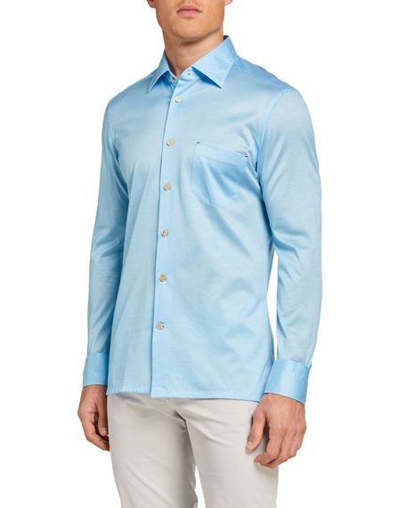 Kiton Men's Solid Jersey Sport Shirt