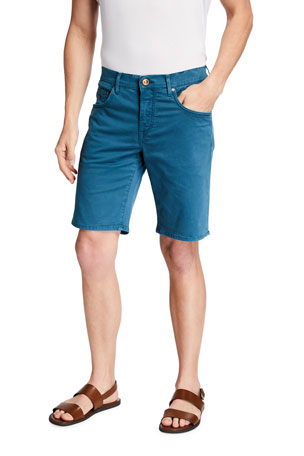 Hand Picked Men's Poppi Stretch Cotton Shorts, Blue-Green