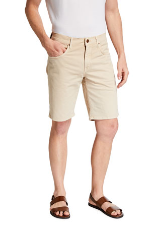 Hand Picked Men's Poppi Stretch Cotton Shorts, Beige
