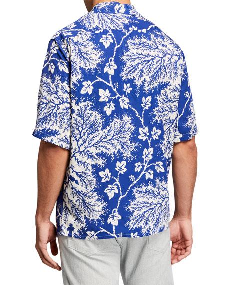 Alexander McQueen Men's Two-Tone Floral Sport Shirt