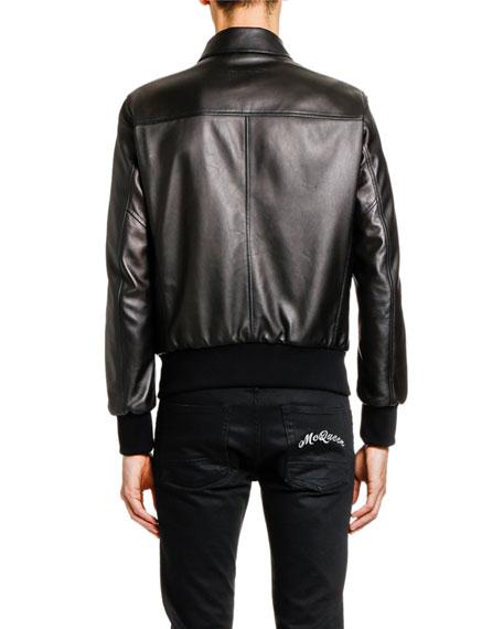 Alexander McQueen Men's Lamb Leather Zip-Front Jacket