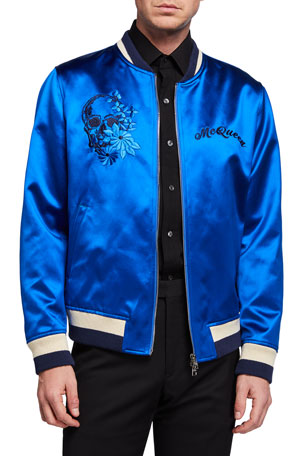 Alexander McQueen Men's Floral-Embroidered Satin Bomber Jacket