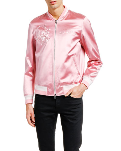 Men's Floral-Embroidered Satin Bomber Jacket