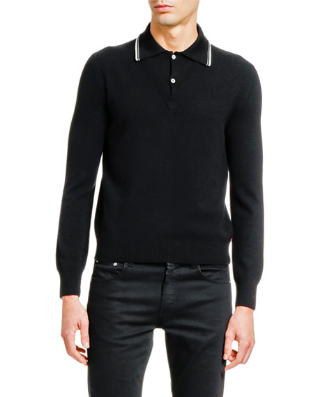 Image 1 of 2: Alexander McQueen Men's Long-Sleeve Striped-Collar Polo Sweater