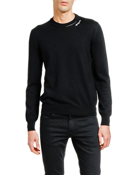 Alexander McQueen Men's Solid Crewneck Sweater w/ Slashed Neck