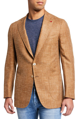 Isaia Men's Textured Wool-Blend Two-Button Jacket