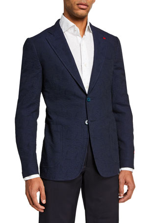 Isaia Men's Solid Seersucker Sport Jacket
