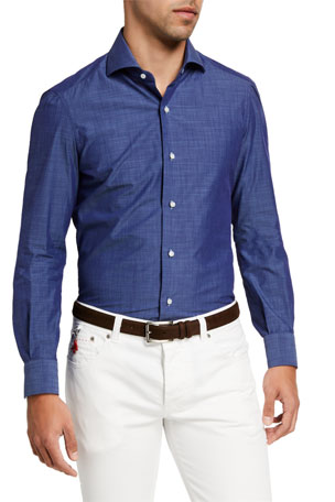 Isaia Men's Chambray Dress Shirt