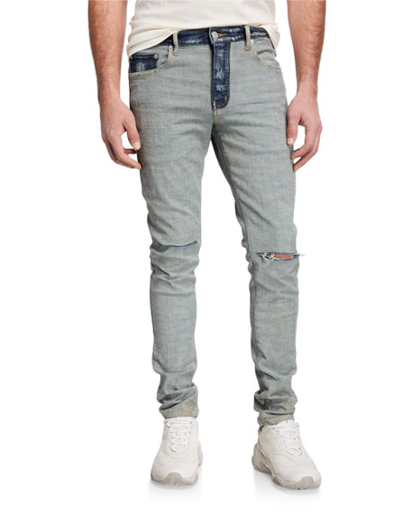 PURPLE Men's Slim Two-Tone Denim Jeans