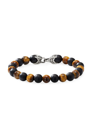 David Yurman Men's Spiritual Beads Bracelet with Alternating Tiger's Eye & Black Onyx