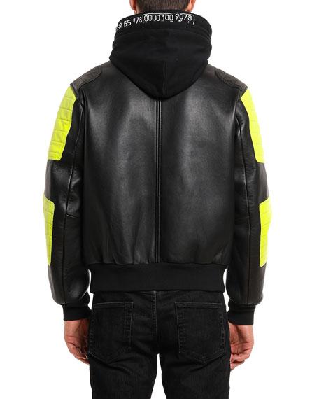 Diesel Men's L Brando Hooded Leather Jacket