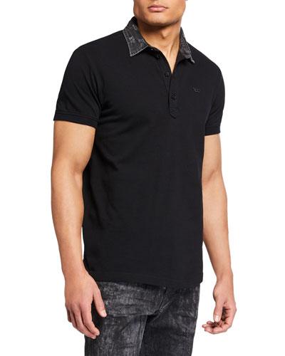Men's Miles Contrast-Collar Polo Shirt