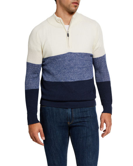 Peter Millar Men's Crown Cool Quarter-Zip Colorblock Sweater