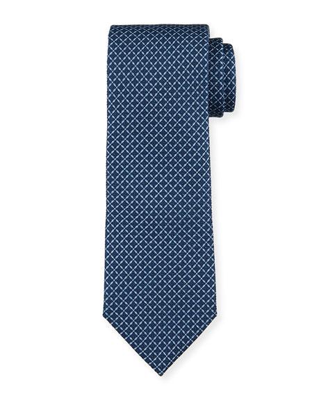 Ermenegildo Zegna Men's Lattice-Print Silk Tie, Blue