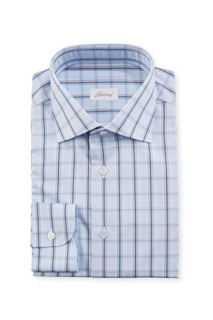 Brioni Men's Large Plaid Dress Shirt