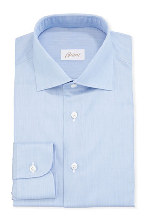 Brioni Men's Chambray Poplin Dress Shirt