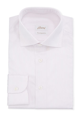 Brioni Men's Narrow Stripe Dress Shirt