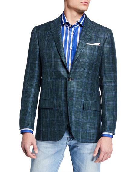 Kiton Jackets Men's Windowpane Check Cashmere-Blend Sport Jacket