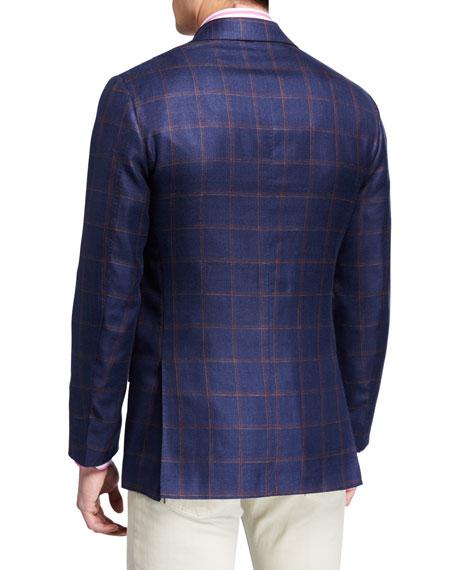 Kiton Men's Windowpane Check Cashmere-Blend Sport Jacket