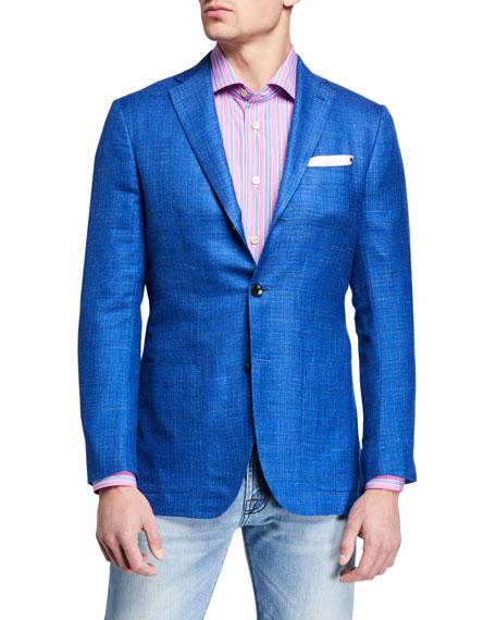 Kiton Jackets Men's Tonal Check Cashmere-Blend Sport Jacket