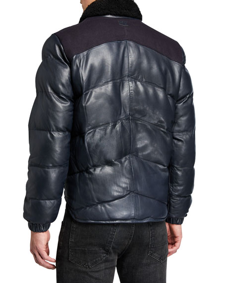 G-Star Men's Western Leather Puffer Jacket