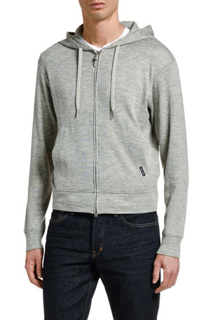TOM FORD Men's Leisure Cashmere Zip-Front Hoodie Sweater