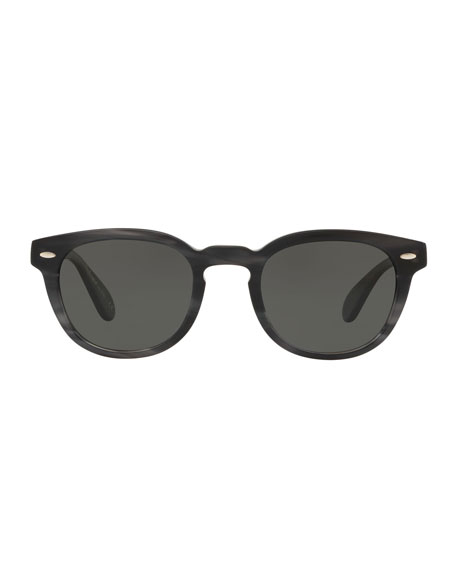 Image 2 of 2: Oliver Peoples Men's Sheldrake Round Polarized Sunglasses