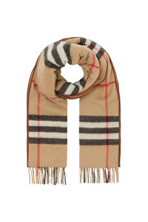 Burberry Men's Quilted Giant Check Cashmere Scarf