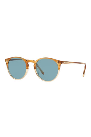 Oliver Peoples Men's O'Malley Round Glass/Acetate Polarized Sunglasses
