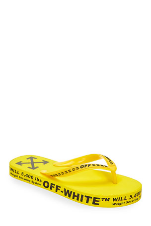 Off-White Men's Logo-Typographic Flip-Flops, Yellow