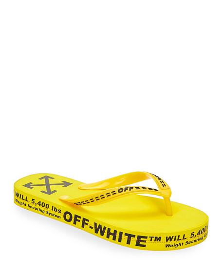 Off-White Men's Logo-Typographic Flip-Flops, Yellow