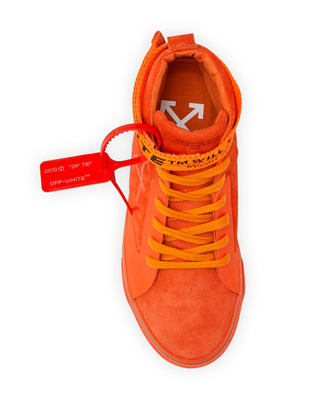 Image 2 of 5: Off-White Men's Tonal Suede Mid-Top Skate Sneakers