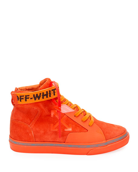 Image 3 of 5: Off-White Men's Tonal Suede Mid-Top Skate Sneakers