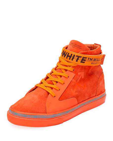 Image 4 of 5: Off-White Men's Tonal Suede Mid-Top Skate Sneakers
