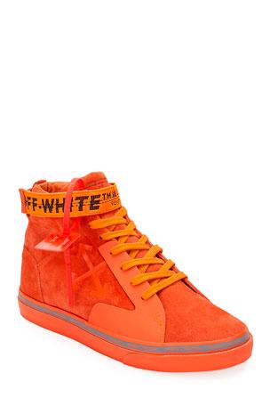 Off-White Men's Tonal Suede Mid-Top Skate Sneakers