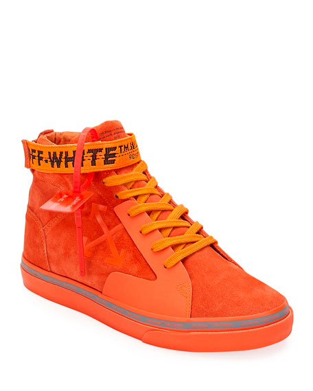 Image 1 of 5: Off-White Men's Tonal Suede Mid-Top Skate Sneakers