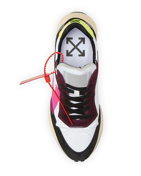 Off-White Men's Arrow Suede-Trim Trainer Sneakers, White