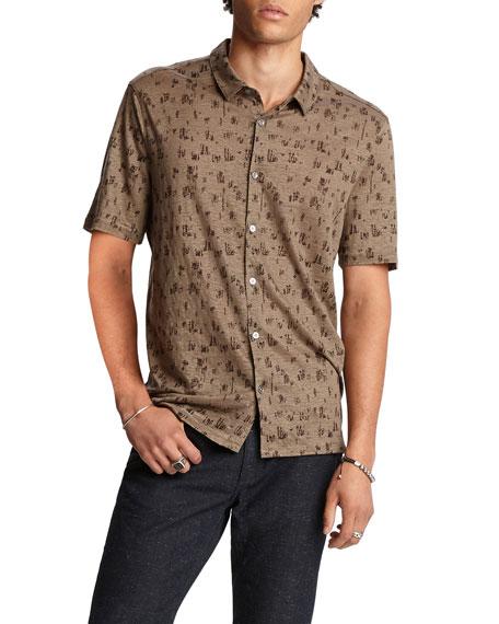 John Varvatos Men's Graphic Easy-Fit Short-Sleeve Sport Shirt