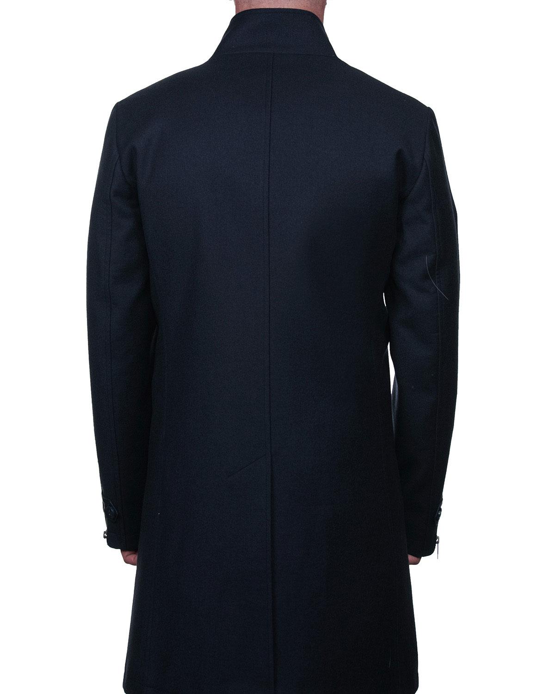 Men's Zip Front Pea Coat W/ Faux Fur Trim by Maceoo