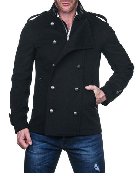Maceoo Men's Aristho Wool Double-Breasted Pea Coat