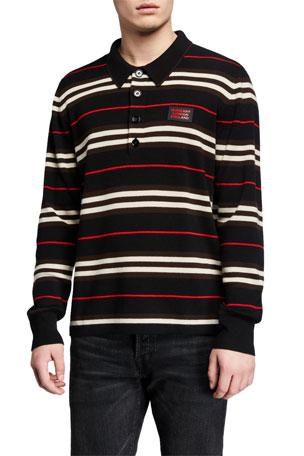 Burberry Men's Rigby Merino Stripe Long-Sleeve Polo Shirt