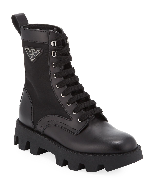 Men's Nylon Inset Leather Boots by Prada