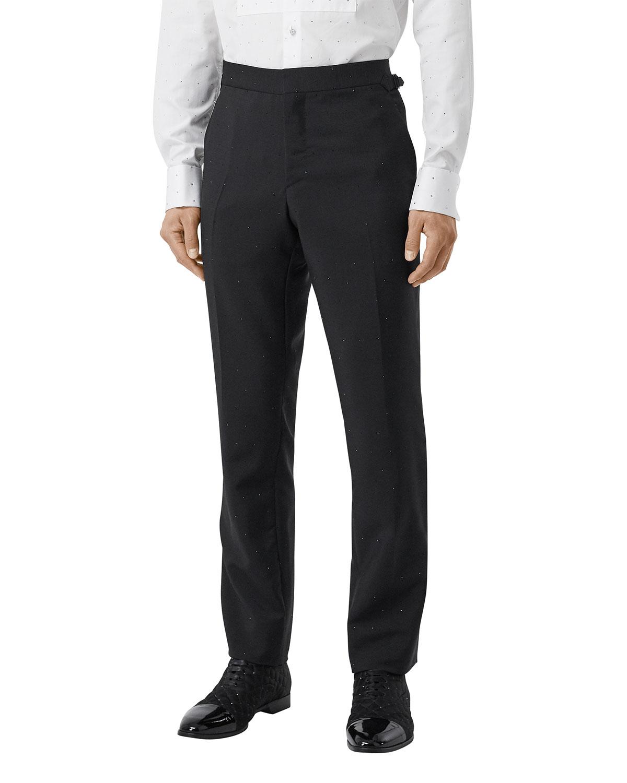 Burberry Men's Crystal-Embellished Straight-Leg Pants in Black