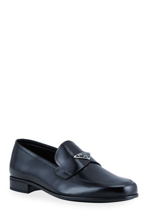 Prada Men's Smooth Leather Logo-Plaque Loafers