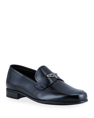 Men's Smooth Leather Logo-Plaque Loafers