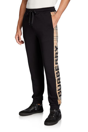 Burberry Men's Atler Check-Trim Sweatpants