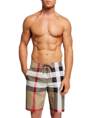 Men's Large Check Swim Trunks