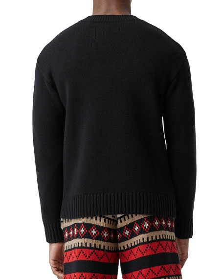 Burberry Men's Why Me Graphic Cashmere Sweater