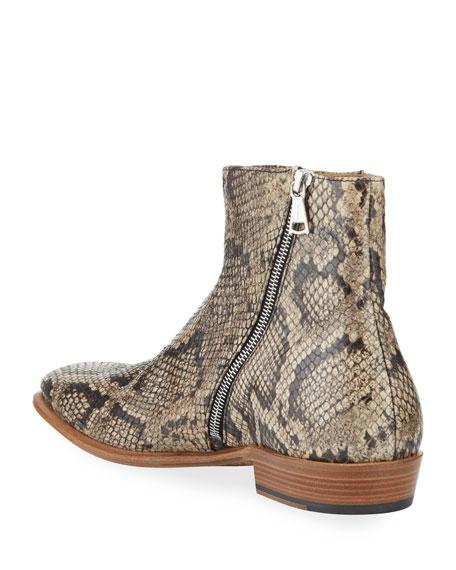 John Varvatos Men's Lewis Python-Print Side-Zip Boots