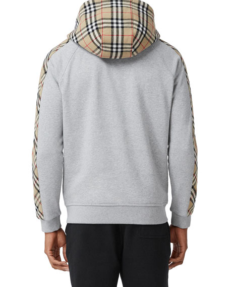 Image 2 of 5: Burberry Men's Kurke Hoodie Sweatshirt w/ Vintage Check Trim